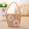 New Arrival Eco-friendly Reusable Mini Burlap Favor Bags with Jute Handle and Sun Flower (BF-0047)