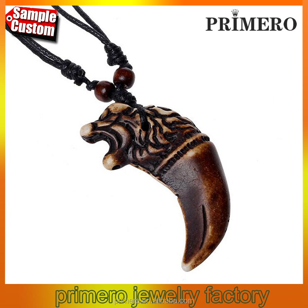 Wax Rope Resin Pendant Necklace Wolf Tooth Punk Style Jewelry