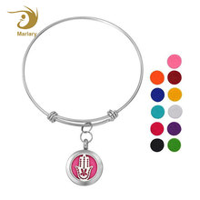 Adjustable Bangle Essential Oil 316L Stainless Steel Diffuser Locket Charm Bangle