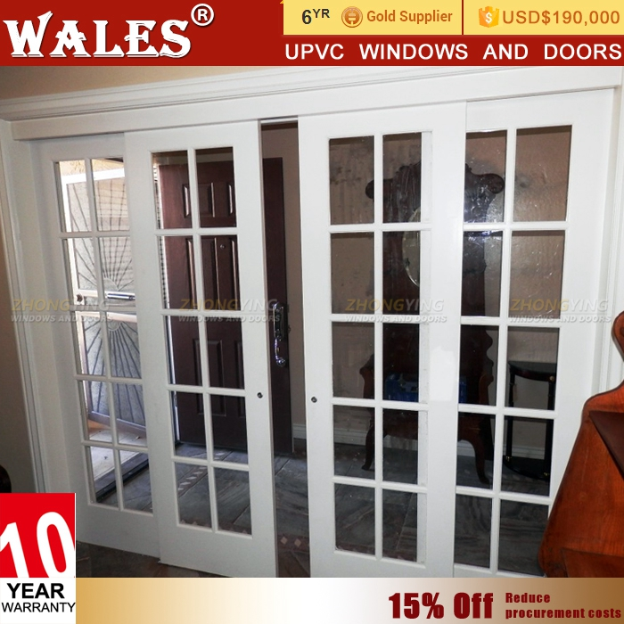 High sealing upvc white weather stripping sliding vented exterior door