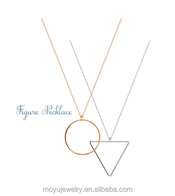 Fashion artificial rose gold and rhodium circle and triangle connected pendant <strong>necklace</strong> for women