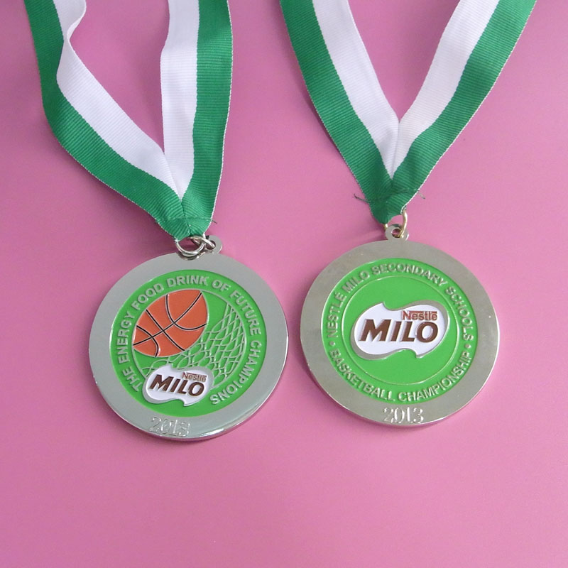 Custom engraved logo soft enamel zinc alloy sport medal with ribbon