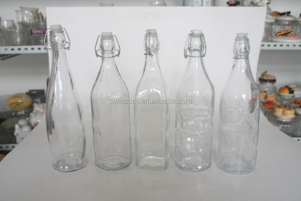 Different Shaped Glass Bottle with Clip Top SP033