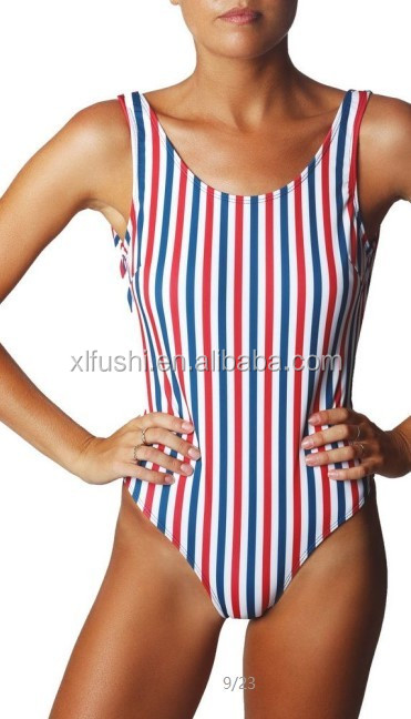 STOCK Digital Print Open Back Sexy Lady High Cut One Piece Swimwear