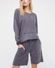 Cotton relaxed crewneck pullover and effortless shorts sweat set