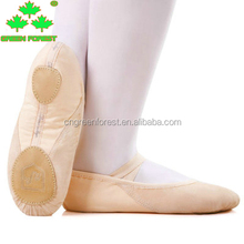 Women Fashion Elastic Band Pink Soft Leather Canvas Full and Split Sole Dance Ballet Shoes for adult