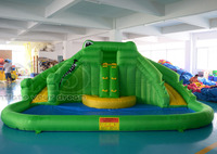 Crocodile water slide with pool for summer