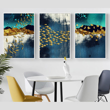 New Chinese Landscape Abstract Golden Bird Fish Butterfly Pictures Decorative Painting Canvas Prints for Home Wall Decor