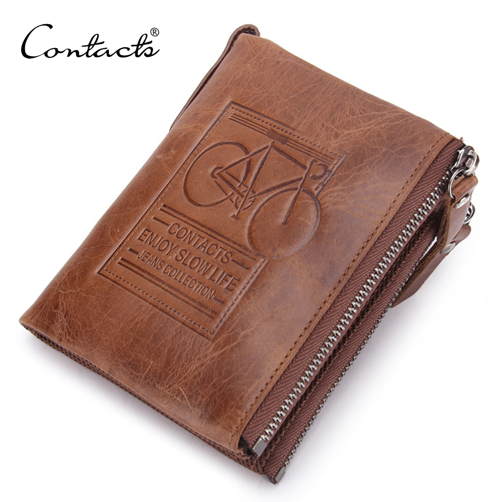Multi Function Crazy Horse Vintage Genuine Leather Men Wallet with Coin Pocket