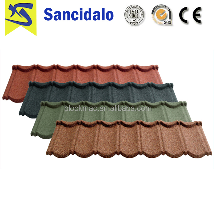Kerala antique color stone coated metal roof tiles