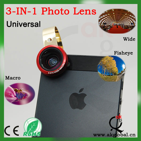 Universal clip lens fisheye wide angle macro 3-in-1 lens for iphone ipad galaxy mobilephone tablet pc
