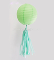 Mint green paper lantern and tassels paper lamp with tassels