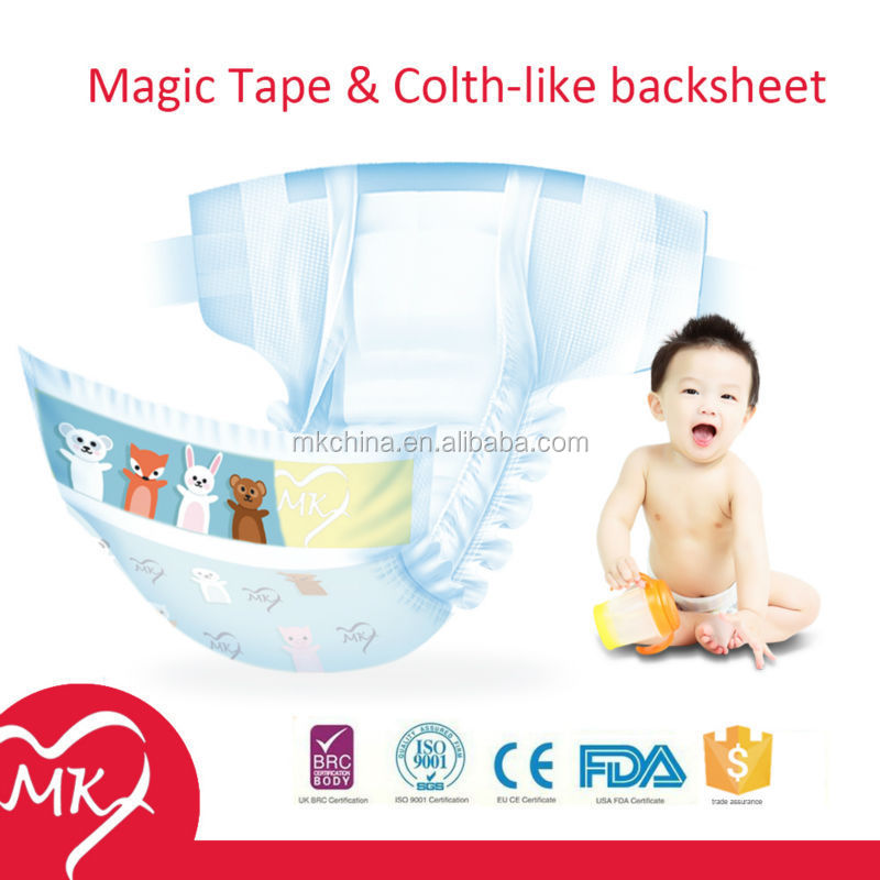 A grade high absorption disposable baby printed adult diaper cover in plastic bags