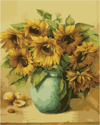 Wholesale 40*50 2.5cm frame sunflowers diy oil Paint by numbers on canvas From painting factory with 3ml 5ml vacuum acrylic