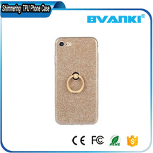 TPU soft sparkle powder back cover rotating ring stent mobile phone case for iphone 7/7 plus