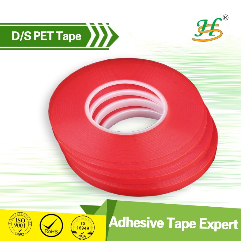 ISO9001&SGS China Quality Supplier 200um PET Double Sided banner Tape apply in stationery, advertising material, bonding