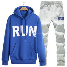 OEM custom wholesale young casual hoody sport wear outdoor plain sweat suits mens 2 pieces tracksuits