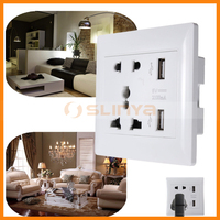 Factory Support Dual Port 5V 2.1A Universal 5 Holes 2 Outlet 2 USB Wall Socket