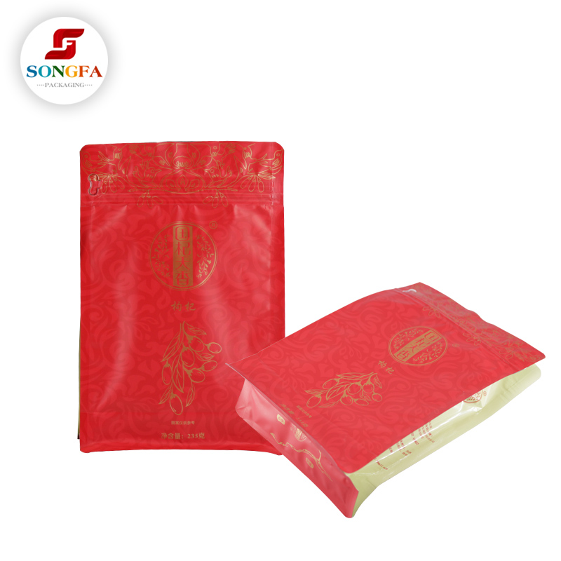 Printed side gusset plastic food packaging ziplock bags for sale