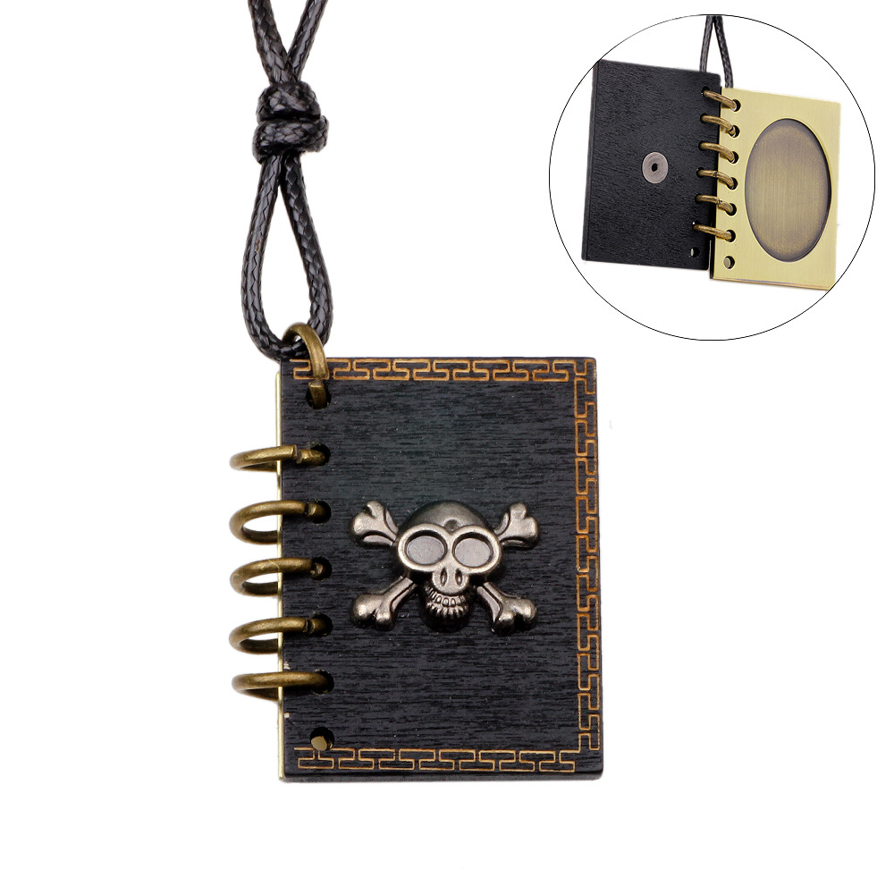PH002 JN DIY jewelry supplies Wholesale Bronze plated retro Skull design necklace photo frame