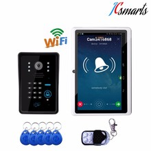 Motion sensor doorbell with video camera unlock electronic front door lock remotely by smart phone