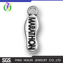 CN186442 Yiwu Huilin jewelry DIY Silver plated Wholesale Marathon Sports Running Shoes Alloy Charms