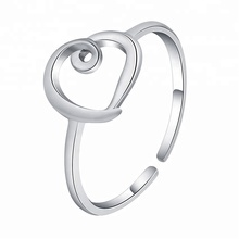 Fashion Jewelry 2017 Love Heart Shape 925 Sterling Silver Ring
