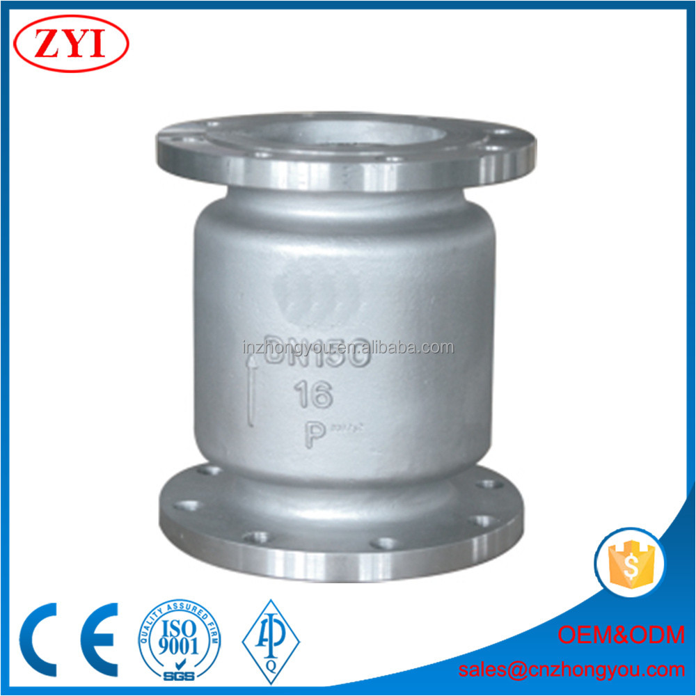 Unidirection stainless steel CF8 vertical lift check valve