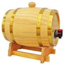 china factory FSC custom 10L 25L pine wooden wine whiskey barrel with leg