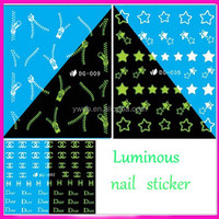 Hot Sell DG series Nail Polish Stickers Water Transfer Decals Stickers Luminous Watermark Nail art Stickers