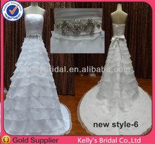 2014 hot sell shinning beading belt organza boating neckline with bead on waist sweetheart wedding dress pattern