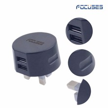 2.4 amp fast charge universal ac to DC5V2.0a2.1A UK 3 pin plug dual usb ports travel adapter for Samsung/ iphone charger