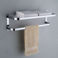 Stainless Steel Bathroom Towel Rack Towel Shelf with Hooks Hotel Towel Holder