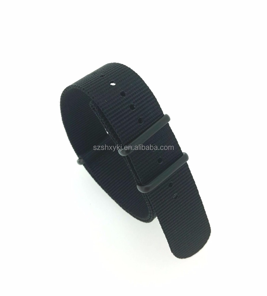 1 piece nylon black metal ring watch wrist strap