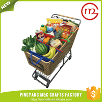New design cheap portable supermarket shopping reusable grocery cart bags