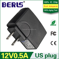 Top quality travel power adapter 12v 0.5a usb adaptor US plug power supply