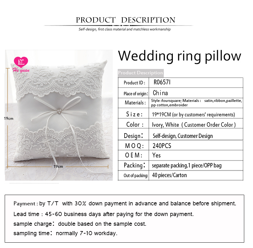 R0657 Has a pattern of roses Chic wedding ring pillow by handmade