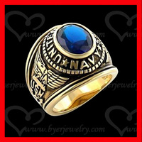 Imitation Sapphire Gold Plated Men's Ring Military Ring