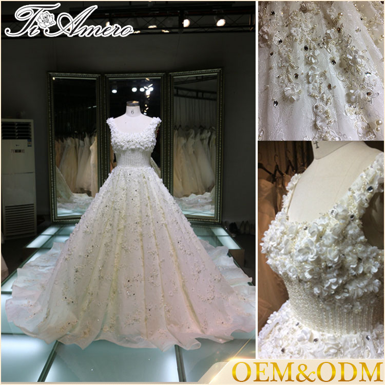 Hot Cake Wedding Dress With Hand made 3D Flowers Ball Gown Luxury Heavy Beading Wedding Dress 2017