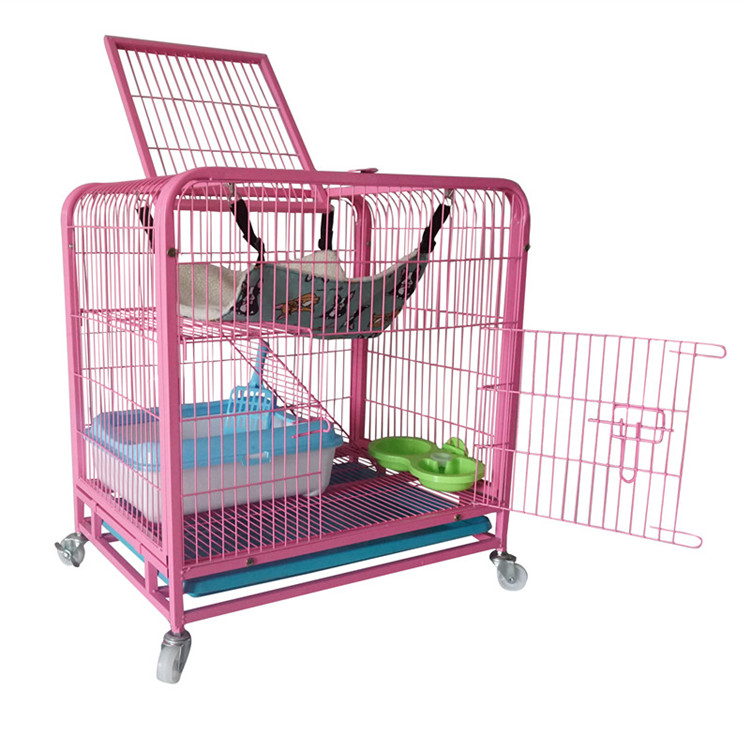 high quality two layer metal large pet cat shower cage with tray