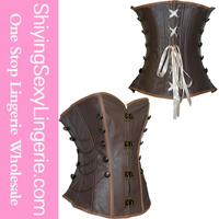 2015 Black Brocade with Brown Leather steel boned corset