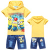 Despicable Me 2 Minions 2014 new babys clothing cotton boys clothing sets children short sleeve hoodies+jeans kids boy suits