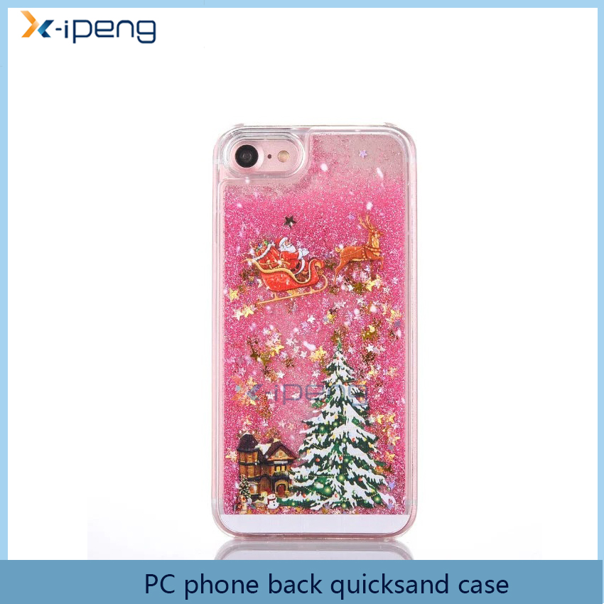 Mobile Phone Accessoires 2016 transparent printing quicksand hard plastic Christmas back cover case for vivo y31