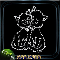 Low-Lead Korean Grade A Strass Iron On Cat Rhinestone Transfer