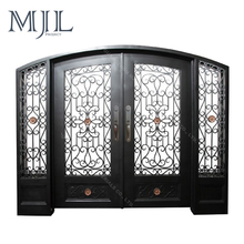 Exterior Hand Forged Main Galvanized Steel Iron Grill Door Designs with Sidelight