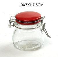 Customized Metal Clip Top Ceramic Lid Clear Glass Spice Herb Honey Storage Jar