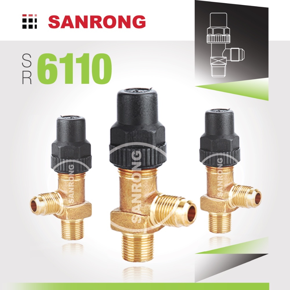 Sanrong 6110 Castel Receiver Valve, Air Conditioning Manual Shut off Valve, Brass Angle Valve for Refrigeration Systems