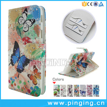 Leather Flip Case For Alcatel One Touch A5 Led Butterfly Painted Glitter Powder PU Leather