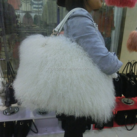 Long haired sheep fur bag /sheep skin bag/ Mongolian sheep fur bag
