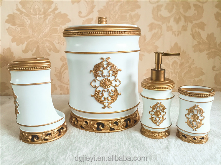 2016 new design unique elegant luxury ivory bathroom set,bathroom accessory set